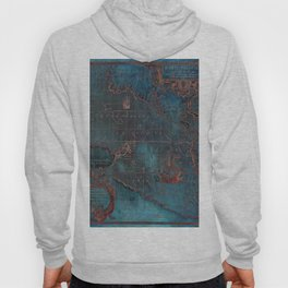 Antique Map Teal Blue and Copper Hoody
