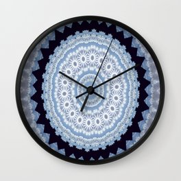 Lovely Healing Mandala  in Brilliant Colors: Black Blue, Gray and White Wall Clock