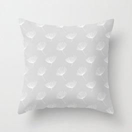 Winter Floral Grey Throw Pillow