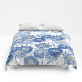 blue indigo dandelion pattern watercolor Comforters