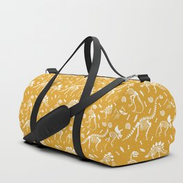 Dinosaur Fossils on Mustard Yellow Duffle Bag