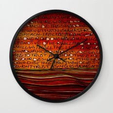 LINE AND WORDS -1 in color Wall Clock