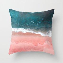 Turquoise Sea Pastel Beach III Throw Pillow