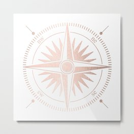 Rose Gold on White Compass Metal Print