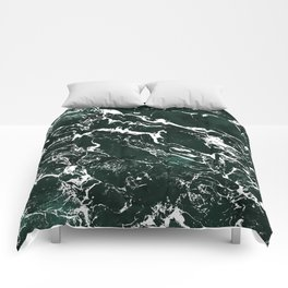 Dark green forest watercolor white marble christmas pattern Comforters