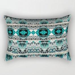 Elegant Modern Teal and Beige Tribal Print Rectangular Pillow