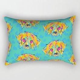 Bright Dog Pattern | Blue Rectangular Pillow