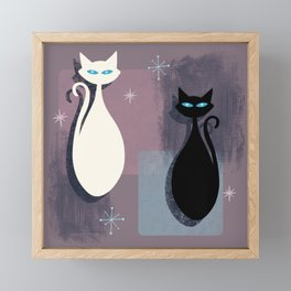 Jazzy Midcentury Modern Black And White Abstract Cats Framed Mini Art Print