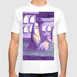 ghost and dog horror painting T-shirt