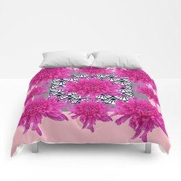 GREY ART DECO FUCHSIA CHRYSANTHEMUM FLORAL Comforters