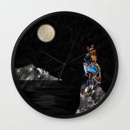 Howling Wolf in Mineral Texture Digital Art Wall Clock