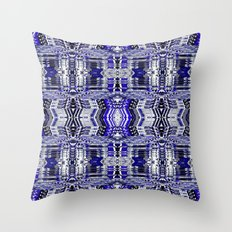 Blue Tribal Glitch Throw Pillow