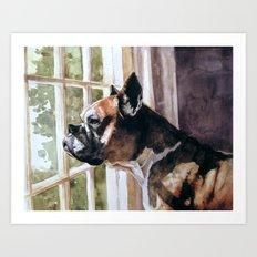 Bulldog Waiting  Art Print