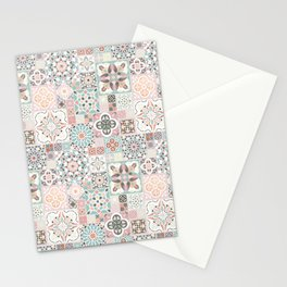 Moroccan Tile Pattern with Rose Gold Stationery Cards