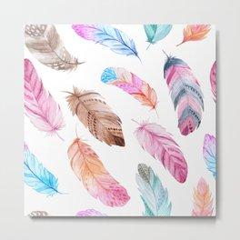 watercolor feather bird Metal Print