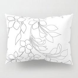 Minimal Wild Roses Line Art Pillow Sham