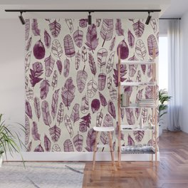 Maroon Feathers Wall Mural