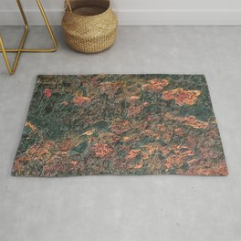 Rusty Red Orange Dark Green Rock Natural Formation Texture Rug