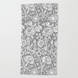 """William Morris Floral Pattern   """"Pink and Rose"""" in Grey and White Beach Towel"""