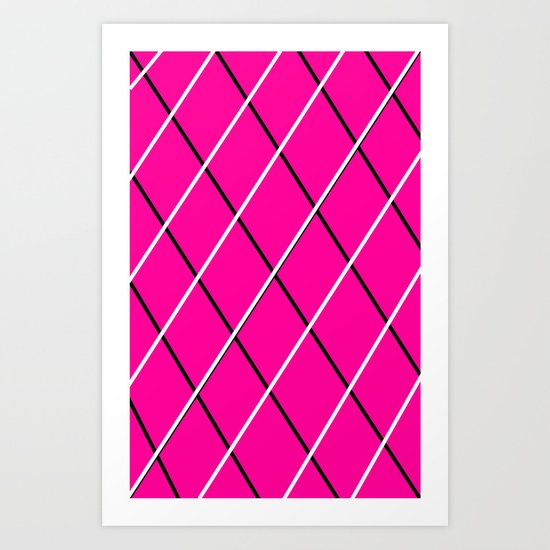 pink, black and white Art Print