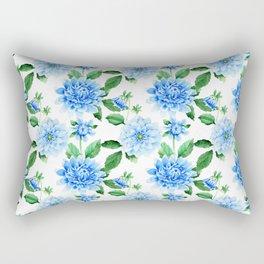 Hand painted sky blue green watercolor modern dahlia floral Rectangular Pillow