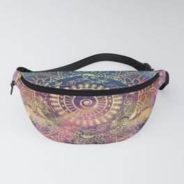Gold watercolor and nebula mandala Fanny Pack