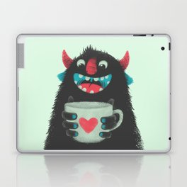 Demon with a cup of coffee Laptop & iPad Skin