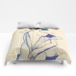 """Egon Schiele """"Rückenansicht eines Mädchens im blauen Rock (Back view of  a girl in a blue dress)"""" Comforters"""