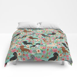 Dachshund floral dog breed pet patterns doxie dachsie gifts must haves Comforters