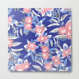 Vintage Flower Pattern Metal Print