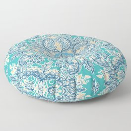 Gypsy Floral in Teal & Blue Floor Pillow