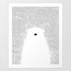 Its A Polar Bear Blinking In A Blizzard Art Print