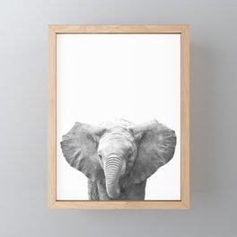 Black and White Baby Elephant Framed Mini Art Print