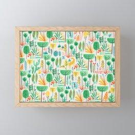 Jungle life with golden unicorn Framed Mini Art Print