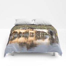 Reflection of a Mustang Family Comforters