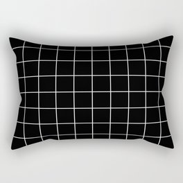 Grid Simple Line Black Minimalist Rectangular Pillow