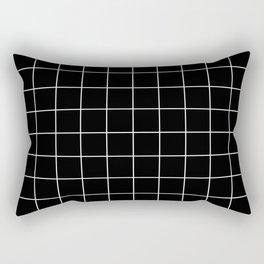 Grid Pattern Line Stripe Black and White Minimalist Geometric Stripes Lines Rechteckiges Kissen
