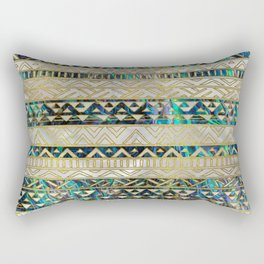 Tribal Ethnic  Pattern Gold on Abalone Shell and Pearl Rectangular Pillow