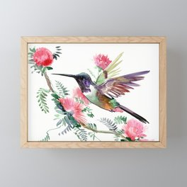 Flying Hummingbird and Red Flowers Framed Mini Art Print
