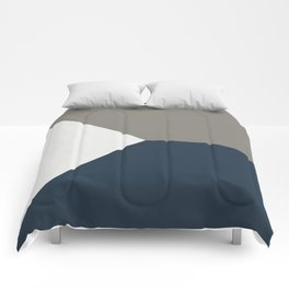 Blue Grey White Abstract Geometric Art Comforters