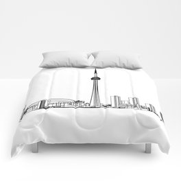 Toronto Skyline - Black on White Comforters