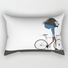 Hipster Lion and his Bicycle Rectangular Pillow