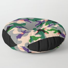 CATS LEAPING GREEN CAMO PATTERN MASK Floor Pillow