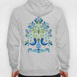 Hungarian Folk Design Blue Birds Hoody