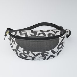 Black and White Love Circle Fanny Pack