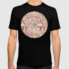 Geometric Gilded Stone Tiles in Blush Pink, Peach and Coral Black LARGE Mens Fitted Tee