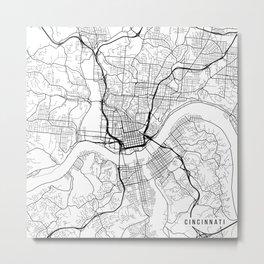 Cincinnati Map, USA - Black and White Metal Print