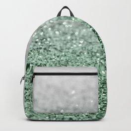 Silver Pastel Mint Green Ocean Glitter Glam #1 (Faux Glitter) #shiny #decor #art #society6 Backpack