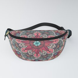 Winter holidays doodles mandala design Fanny Pack