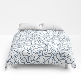 Doodle Line Art   Petrol Blue Lines on White Background Comforters